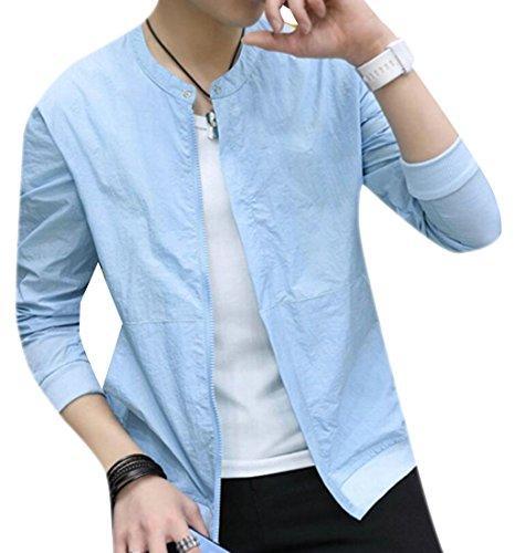 Jotebriyo Men Vogue Casual Thin Sunscreen Plain Zip Up Summer Jacket Coat