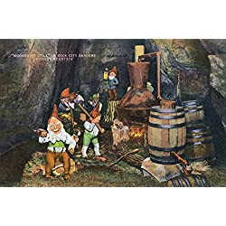 Lookout Mountain, Tennessee - Fairyland Caverns; Interior View of Gnomes at a Moonshine Still (12x18 Art Print, Wall Decor Travel Poster)