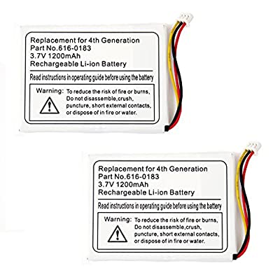 2 Pack Fenzer Replacement 1200mAh Battery for Apple iPod Classic 4th 4 Gen Generation by Fenzer