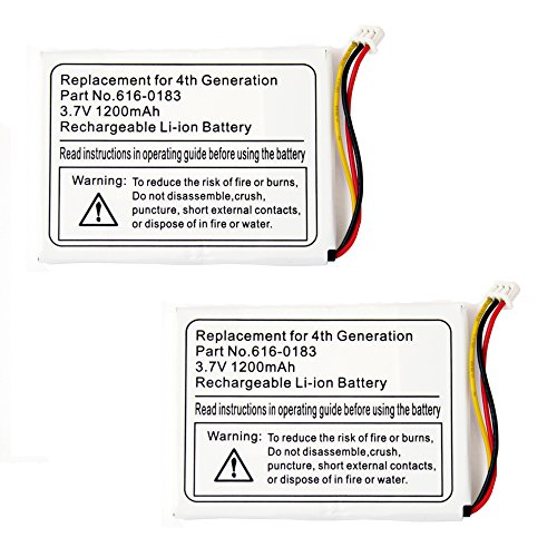 2 Pack Fenzer Replacement 1200mAh Battery for Apple iPod Photo 4th 4 Gen - Ipod 4th Generation Photo