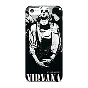 Scratch Resistant Cell-phone Hard Cover For Iphone 5c (uBt17582aLcK) Support Personal Customs Realistic Nirvana Pattern
