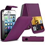Premium Quality Apple iPhone SE 5S 5 Purple Leather Case Cover Cotton Padded Light Weight Flip Wallet PU With Two Card Slots For Apple iPhone 5 5S by G4GADGET®