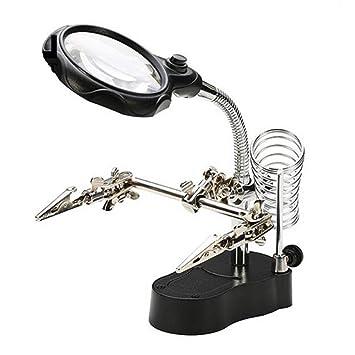 Lámpara De La Lupa Del Escritorio 3.5X-12X Soporte Del Soldador De La Abrazadera