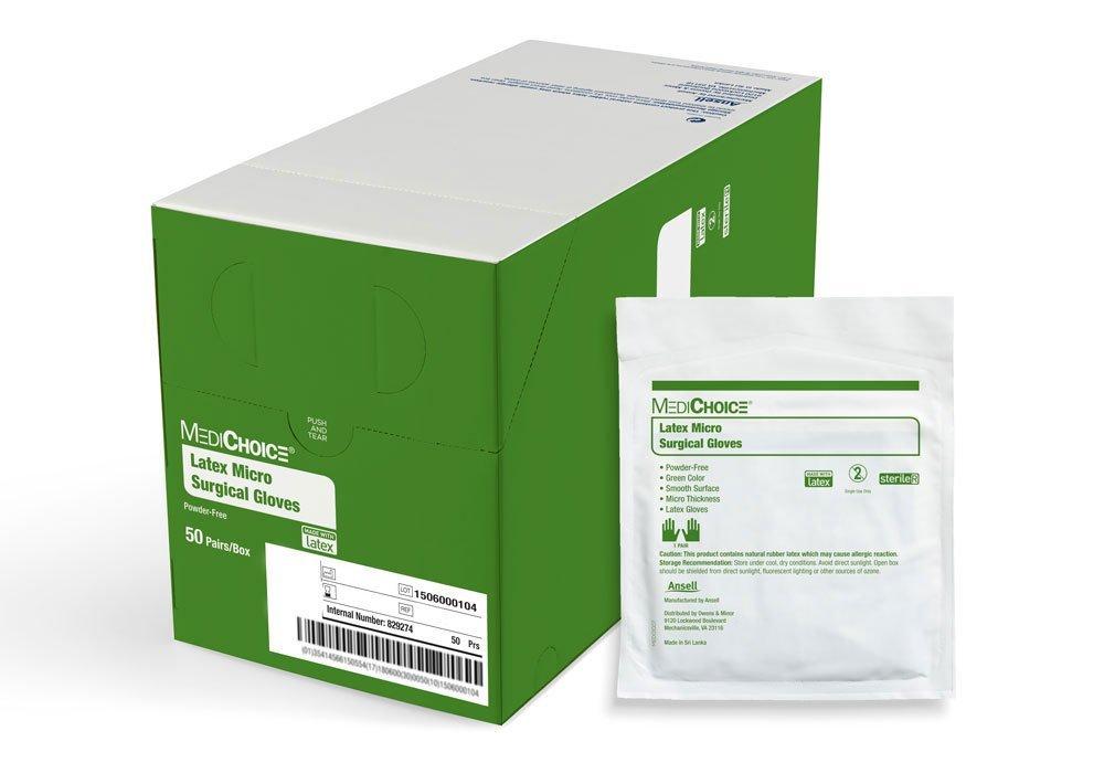 MediChoice Surgical Glove, Latex Micro, Powder Free, Sterile, 6.5, Teal, 1314SGL60065 (Box of 50)