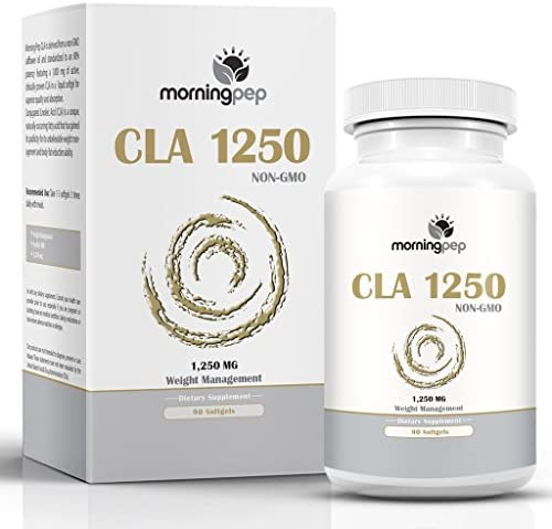 CLA 1250 mg 90 Count Highest Potency 80 Conjugated Linoleic Acid Weight Management Diet Supplement by Morning Pep, Non-GMO