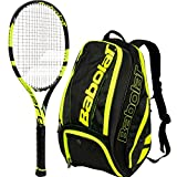 Babolat Pure Aero VS Yellow/Black Adult Tennis Racquet (Grip Size 4 1/8) with a Yellow/Black Pure Line Tennis Backpack