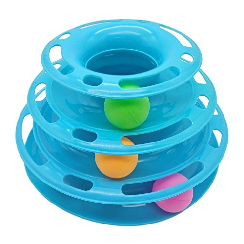 3 Layers ABS Anti-Slip Funny Pet Cat Intelligence Triple Play Disc Turntable Balls Toy Blue Yellow ()