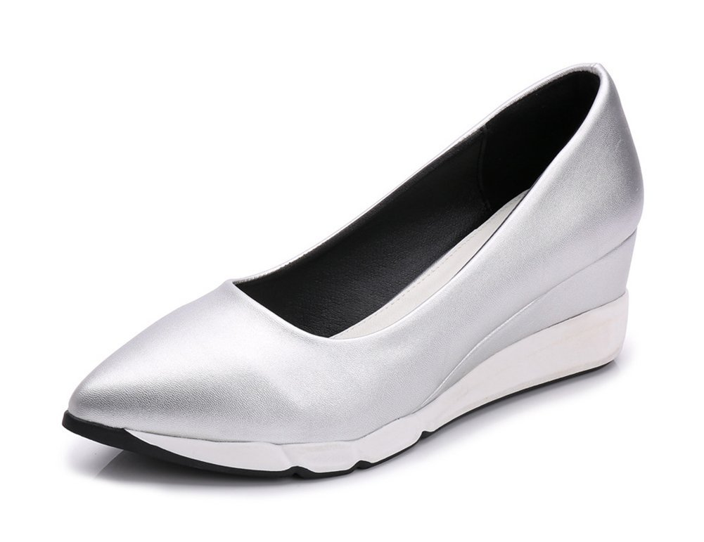 Easemax Women's Casual Wedges Pointed Toe Low Top Slip On Platform Mid Heel Pumps Shoes Gray 4.5 B(M) US
