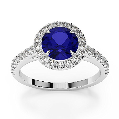 G-H/VS 1,28CT Coupe ronde sertie de diamants et saphir Bague de fiançailles en platine 950Agdr-1215