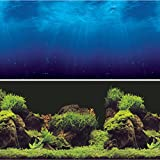 "Vepotek Aquarium Background Double sides (Deep Sea/Water Plants) (36""W X 24""H)"