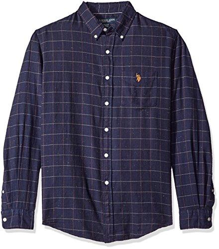 U.S. Polo Assn. Men's Long Sleeve Classic Fit Button Down Herringbone Neps Check Sport Shirt