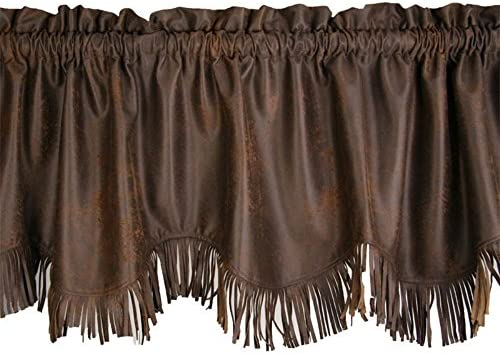 HiEnd Accents Western Faux Leather Window Curtain Valance w Fringe, 18 x 84 , Chocolate Brown