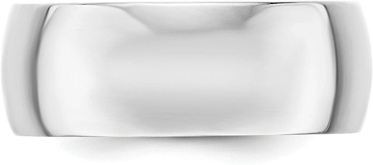 10k White Gold 8mm Engravable Half Round Band