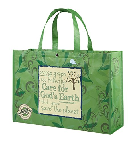 Care for God's Earth Green Non-Woven Polypropylene Reusable Tote Bag, 18 (Catholic Tote Bag)