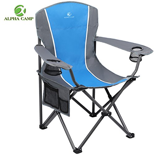 ALPHA CAMP Heavy Duty Folding Arm Chair Oversized Camping Chair Portable Padded Chair Lumbar Back Support 350 LBS - Blue/Grey