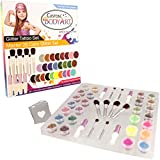 Glitter Tattoo Kit by Custom Body Art 26 Color ''Master'' Glitter & Body Art Set with 26 Large Glitter Colors, 50 Uniquely Themed Temporary Tattoo Stencils, 4 Glue Applicator Bottles & 8 Glitter Brushes