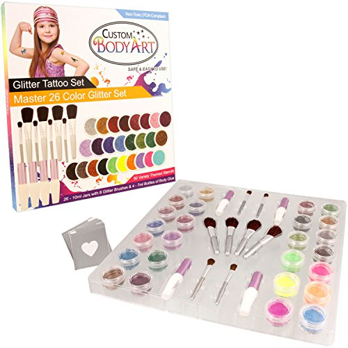 "Glitter Tattoo Kit by Custom Body Art 26 Color ""Master"" Glitter & Body Art Set with 26 Large Glitter Colors, 50 Uniquely Themed Temporary Tattoo Stencils, 4 Glue Applicator Bottles & 8 Glitter Brushes from Custom Body Art"