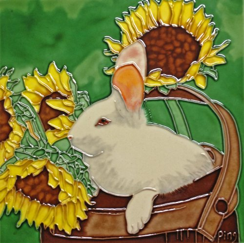 (Continental Art Center BD-0428 8 by 8-Inch Rabbit with Sunflower Ceramic Art Tile)