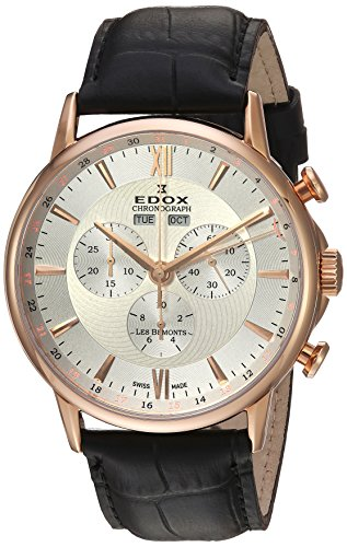Edox Men's 'Les Bemonts' Swiss Quartz Stainless Steel and Leather Dress Watch, Color:Black (Model: 10501 37R AIR)