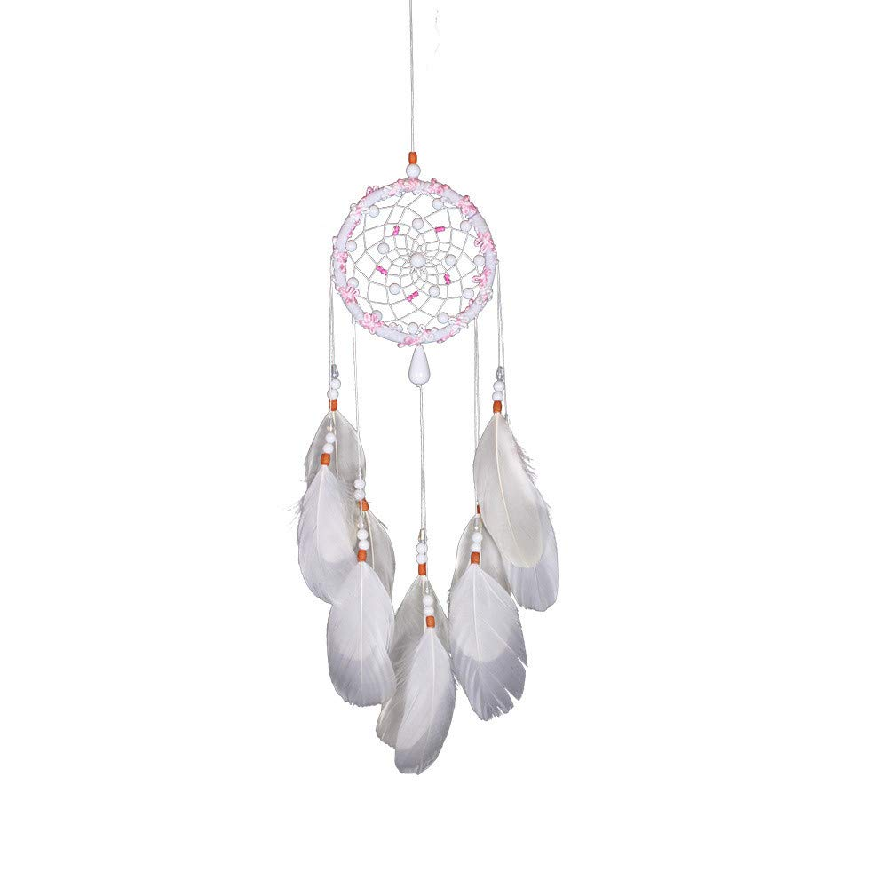 Tuscom White Handmade Feather Colorful Pearl Dream Catcher |for Car Wall Hanging Room Home Decor (11x53cm) (White) by Tuscom@ (Image #2)