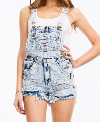 Acid Wash Denim Cut Off Distressed Fringe Shorts Overalls