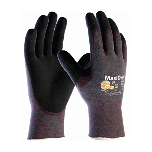 (MaxiDry 56-424/XL Ultra Lightweight Nitrile Glove, Palm Dipped with Seamless Knit Nylon/Lycra Liner and Non-Slip Grip on Palm and Fingers)