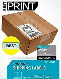 Best Print 200 Half Sheet - Best Print Shipping Labels - 5-1/2\