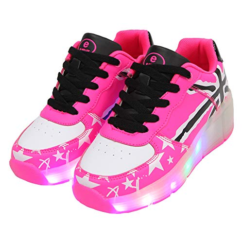 Roller Light - SDSPEED Updated Design Kids Roller Skates Shoes LED Lights Roller Shoes Boys Girls Wheel Shoes Roller Sneakers Shoes with Wheels