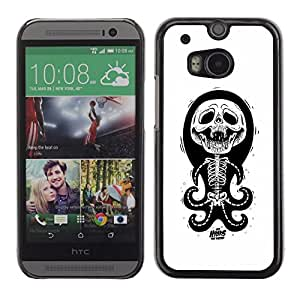 Be Good Phone Accessory // Dura Cáscara cubierta Protectora Caso Carcasa Funda de Protección para HTC One M8 // Octopus White Black Funny Skull Skeleton