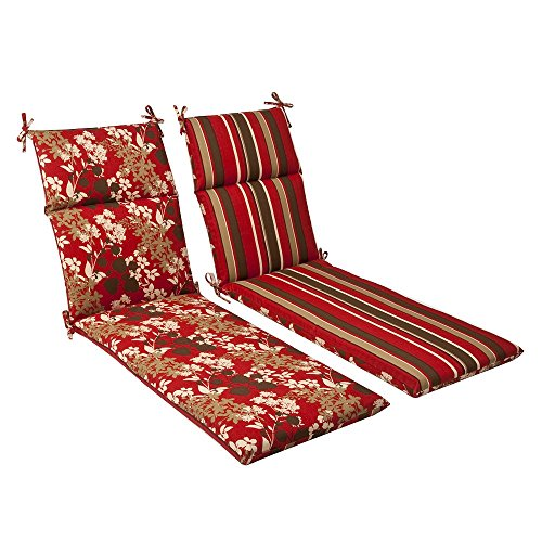 Reversible Chaise Lounge Cushion Brown Red Floral Striped Outdoor Garden Patio Yard Mat Pad Cover Outside Deck Pool Weatherproof