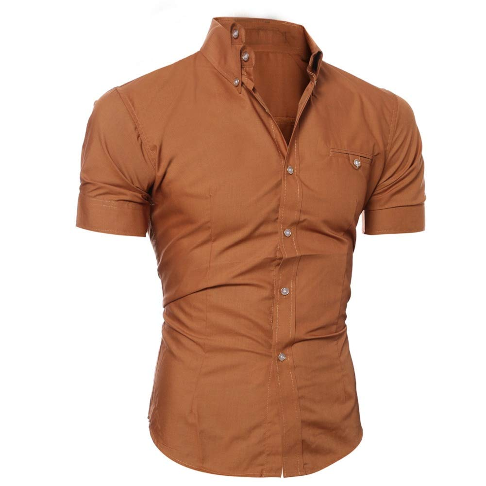 Men Slim Fit Shirt Short Sleeve Slim Fit Solid Button Down Business Shirt Blouse Tops by Lowprofile Brown