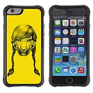 Hybrid Anti-Shock Defend Case for Apple iPhone 6 4.7 Inch / Tiger With Hair