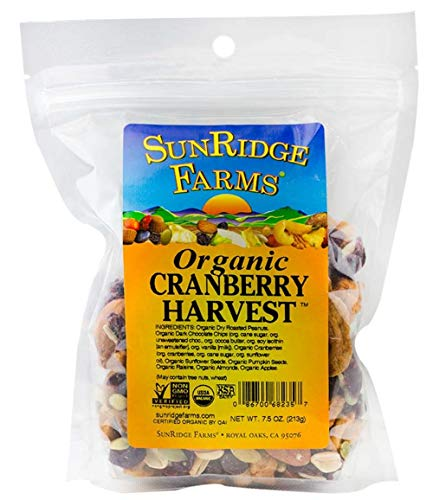 - SunRidge Farms Organic Cranberry Harvest Mix NonGMO Verified 7.5 Ounce Bag (Pack of 12)