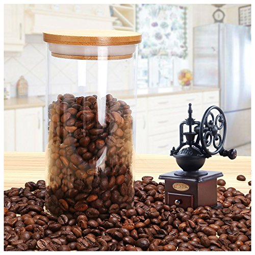Glass Storage Jar Airtight Container with Natural Bamboo Lid and Silicone Sealing Ring,Kitchen Canister of Coffee Tea Food(600ml/20oz)