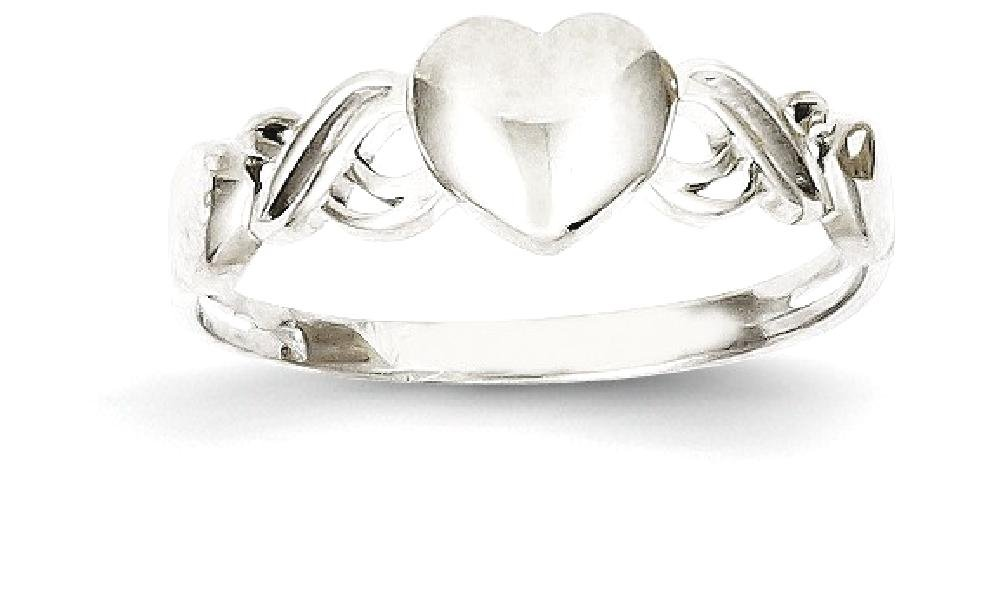 ICE CARATS 14k White Gold Heart Band Ring Size 8.00 S/love Fine Jewelry Gift Set For Women Heart