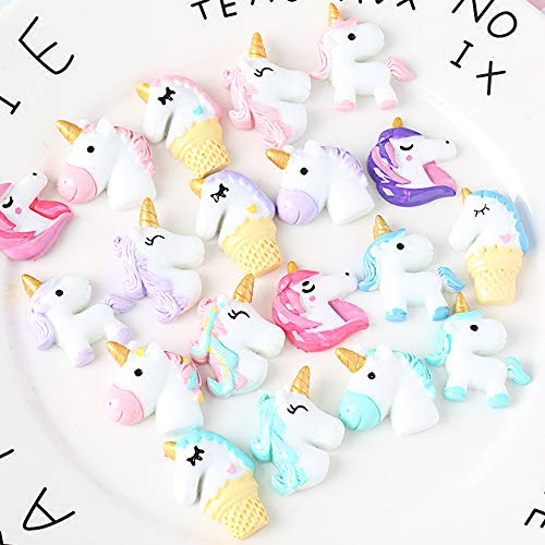 40 PCS Unicorn Slime Charms for Craft Making, Fineder Unicorn Slime Beads Mix Assort DIY Flatbacks Resin Flat Back Buttons Scrapbooking