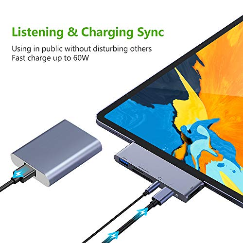 USB C Hub for iPad Pro 2018 6 in 1 USB C to 4K HDMI Adapter with USB30 SDTF Card Reader 35mm
