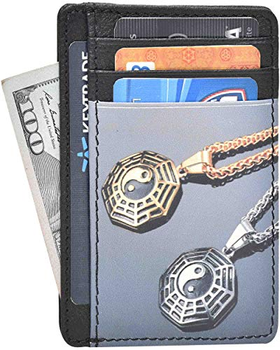 RFID Leather Front Pocket Slim Wallets- Genuine Leather Handmade Minimalist Credit Card Holder By Clifton Heritage (Black Nappa/Yin Yang)
