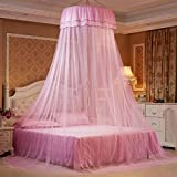 ODIUHEOHF Mosquito bed net | Large screen netting bed canopy circular curtain | Keeps away insects & flies | Home & travel-pink 120x200cm(47x79inch)