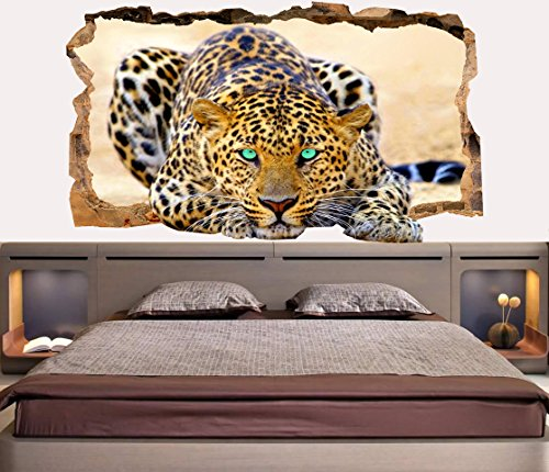 Startonight 3D Mural Wall Art Photo Decor Blue Eyes Leopard Amazing Dual View Surprise Large Wall Mural Wallpaper For Living Or Bedroom Animal Wall Art 120 X 220 Cm