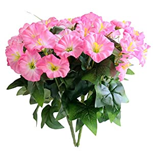 Xilyya 2PCS Mini Silk Flower Artificial Petunia Flowers Bush for Wedding Home Office Garden Decor 120
