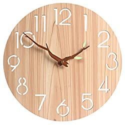 12 Wooden Round Wall Clock,Vintage Rustic Country Tuscan Style for Kitchen Living Room Office,Silent & Non-Ticking Large Decorative Clocks,Battery Operated(419)