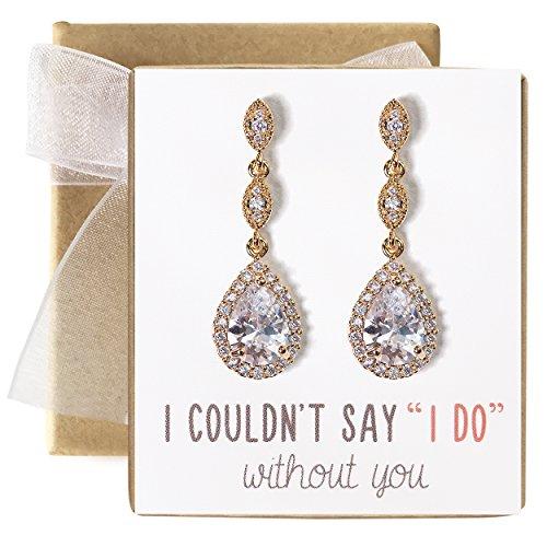 (A+O Bridesmaid Gift, Teardrop Cubic Zirconia Crystal Earrings in Gold)