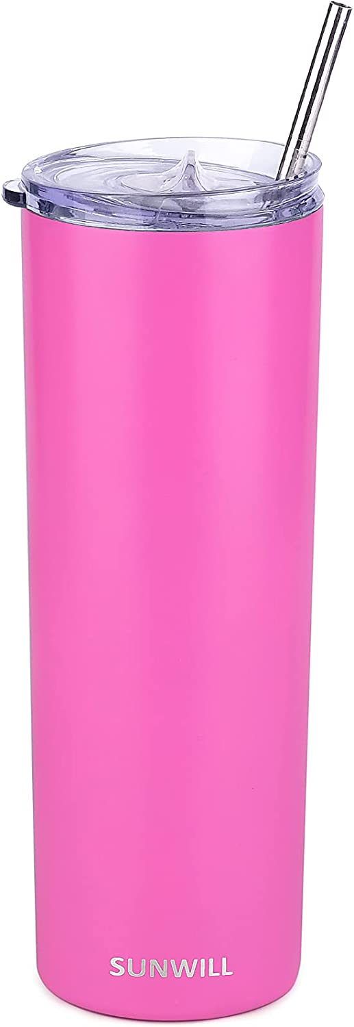 SUNWILL Skinny Tumbler with Straw and Lid 20oz Travel Mug, Vacuum Insulated Double Wall Stainless Steel, for Coffee, Tea, Beverages, Hot Pink