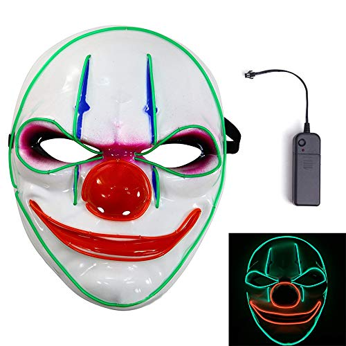 MineSign Halloween Scary Mask Glow LED Light Up Flash Mask Creepy Cosplay Costumes Party]()