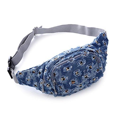 jeans waist bag travel Fanny Pack for Men Women blue Sports (style 2)
