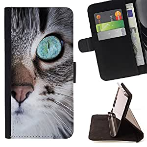 BullDog Case - FOR/Sony Xperia M2 / - / cute kitten eye nose whiskers furry /- Monedero de cuero de la PU Llevar cubierta de la caja con el ID Credit Card Slots Flip funda de cuer