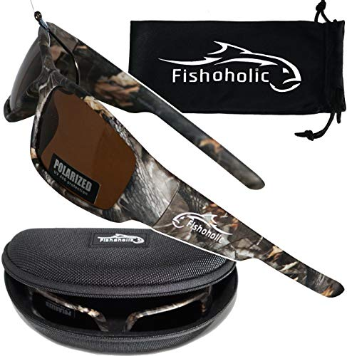 Fishoholic Polarized Fishing Sunglasses (5 Color Options: BlueMirror. Ice. Amber Lens w Camo or Matte Black) Free Hard Case & Pouch UV400. Great Fishing Gift.