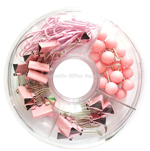 65 PCS Pink Push Pins/Paper Clips/Binder Clamps/Binder Clips, Pink Office Supplies Bulletin Boards Thumb Tacks Set Desk Accessories for School Supplies ()