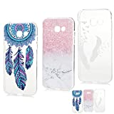 A5 2017 Case MAXFE.CO for Samsung Galaxy A5 2017 Case Protective Crystal Clear Flexible Silicone Shockproof Case Cover for Samsung A5 2017 [3 Pack] Dream Catcher & Pink Marble & White Feath